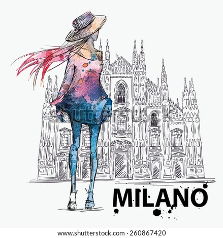 fashion sketch. Girl on a Milano Duomo  background - stock vector