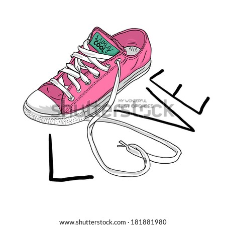 fashion sketch illustration shoes with love type - stock vector