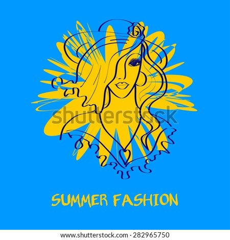 """Fashion sketch. Lettering """"Summer fashion"""". Girl's silhouette.  - stock vector"""