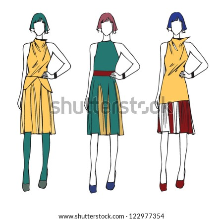 fashion sketch working woman modern style - stock vector