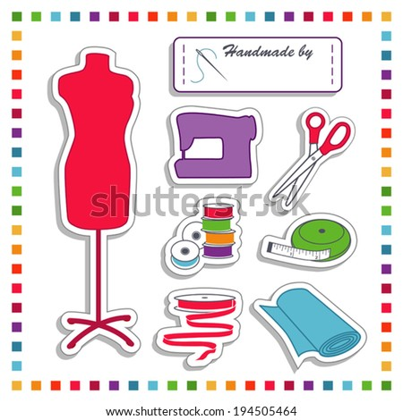 Fashion Stickers for diy fashion sewing, tailoring, dressmaking, crafts: label with copy space, needle, thread, scissors, sewing machine, bobbins. tape measure, ribbon, fabric. Rainbow frame, EPS8. - stock vector