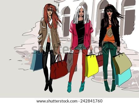 Fashion street girls - stock vector