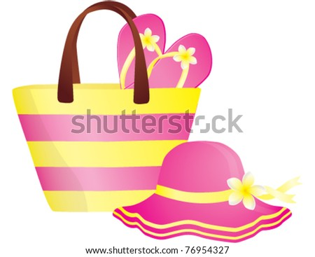 Fashion summer accessories, hat, bag and flip-flops. Vector illustration - stock vector