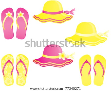 Fashion summer accessories, hats and flip-flops. Vector illustration - stock vector