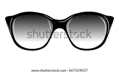 Fashion Sunglasses on White Background Isolated. Sketch of Fantasy Glasses with Dark Lenses. Vector Illustration. Vintage Accessories. Retro Style Design. Freehand Drawing of a Cat Eye Sunglasses.