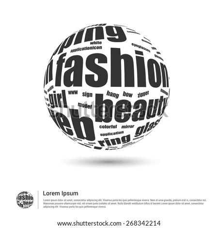 Fashion Tag cloud in word globe. World globe with latest fashion trend. Wordcloud vector illustration. - stock vector