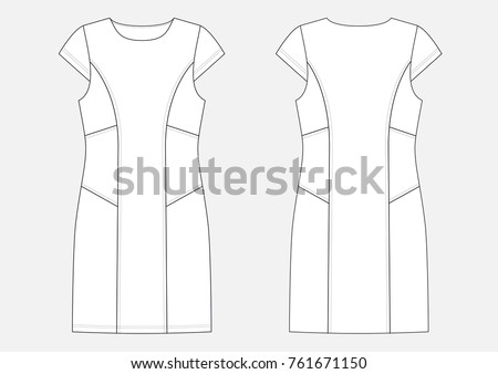 Fashion Technical Sketch Women Middle Dress Stock Vector HD (Royalty ...