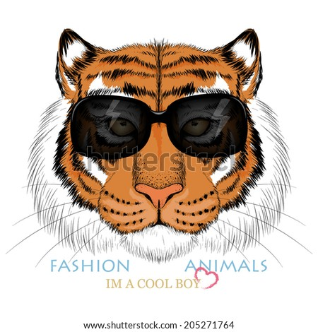 Fashion tiger head design  - stock vector