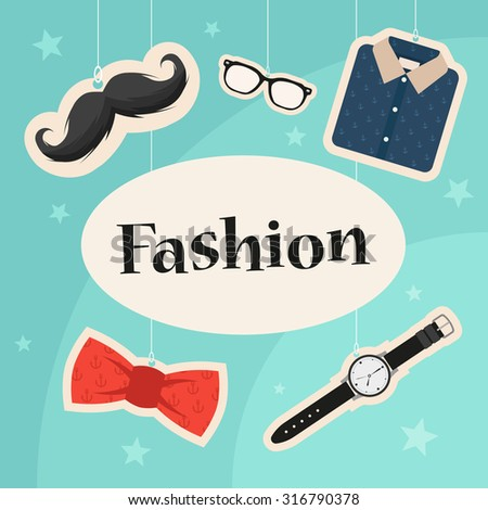 Fashion Title. Colorful Objects: Mustache, Glasses, Shirt, Bow Tie and Clock. Stylized Vector Illustration - stock vector