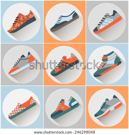 Fashion trainers icons set. Vectors signs of sports shoes. Colorful fashion modern flat shoe icons. - stock vector
