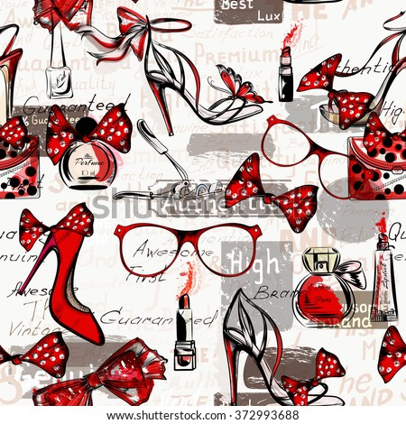 Fashion vector background with female on a high heels glasses bags red lipstick and perfumes - stock vector