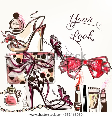 Fashion vector background with hand drawn female shoes and cosmetics lipstick cream bow perfume and other - stock vector