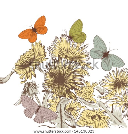 Fashion vector background with pastel butterflies and hand drawn flowers