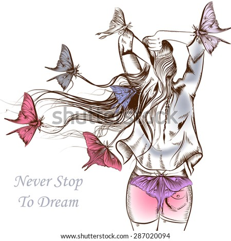 Fashion vector illustration butterflies and girl with a very long hair staying back - stock vector