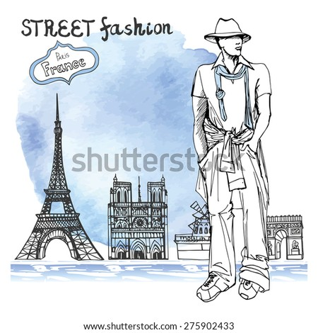 Fashion vector  illustration. Stylish dude men .Doodle liner hand drawing  sketch. Paris landmark  panorama.Watercolor stein.Notre Dame,arc de Triomphe,Eiffel tower,Moulin Rouge.Retro.
