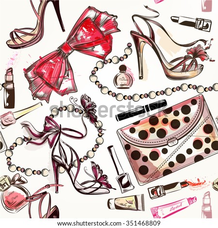 Fashion vector seamless background pink hand stock vector for Fashion designer craft sets