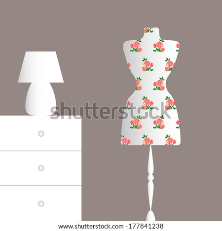 fashion white mannequin in vintage interior - stock vector