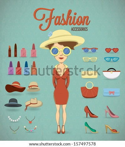 Fashion Woman and accessories. Vector illustration - stock vector