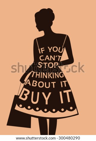 Fashion woman in dress from  quote. Vector - stock vector