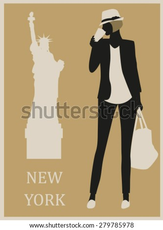 Fashion Woman in New York USA. Vector - stock vector