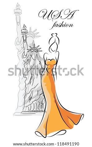 Fashion woman in USA - stock vector