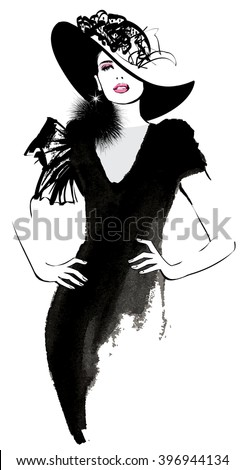 Fashion woman model with a black hat - vector illustration - stock vector