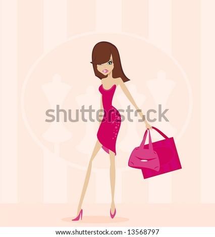 Fashion woman on shopping - stock vector