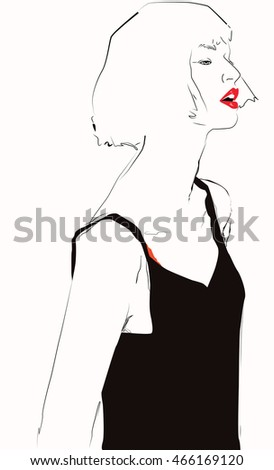 Fashion woman sketch vector illustration