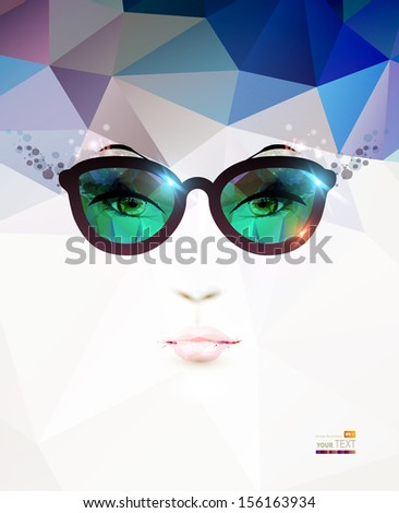 fashion woman with glasses  - stock vector