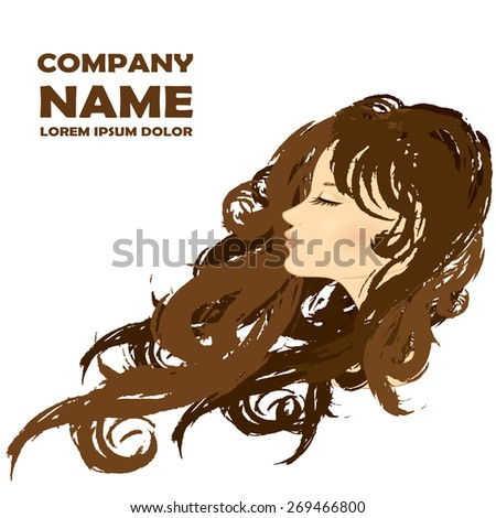 Fashion Woman with Long Hair. Vector Illustration. Stylish Design for Beauty Salon Flyer or Banner. - stock vector
