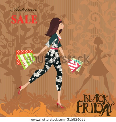 Fashion woman with shopping. Autumn sale. Black friday. - stock vector
