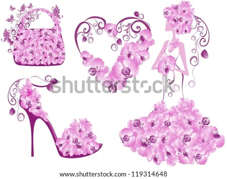 Fashion women accessories collection - stock vector