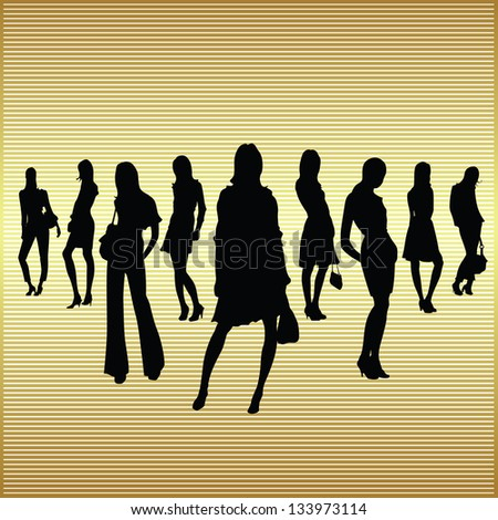 fashion women in various silhouettes