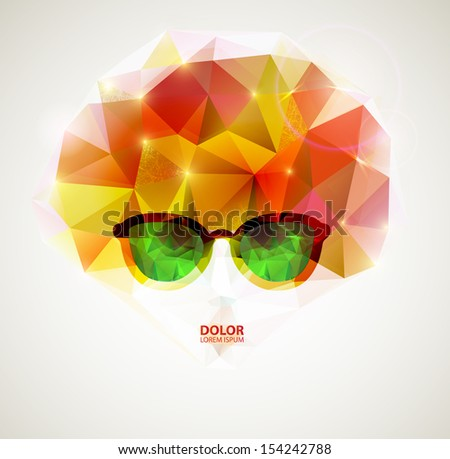 fashion women with glasses - stock vector