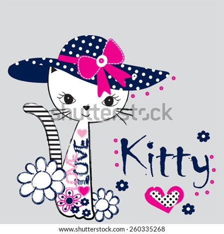 fashionable cat, T-shirt design vector illustration - stock vector