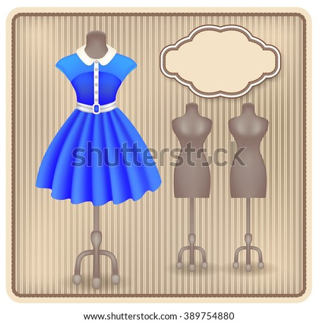 Fashionable dress in retro style on dummy in shop or salon store