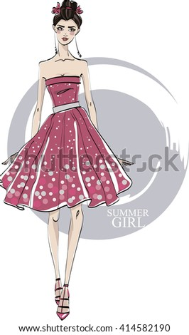 Fashionable girl in red dress. Vector.