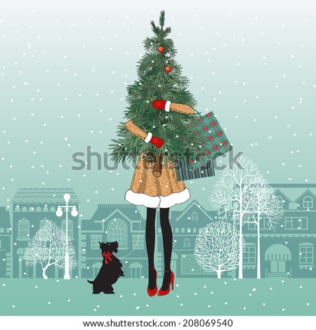 Fashionable girl with dog holds christmas tree and colorful shopping bags. Shopping spree. Happy holidays concept. Vector EPS 10 illustration. - stock vector