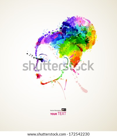 fashionable girl with dyed vivid  hair - stock vector
