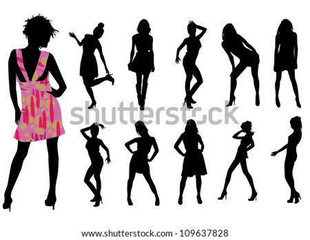 Fashionable girls on white - stock vector