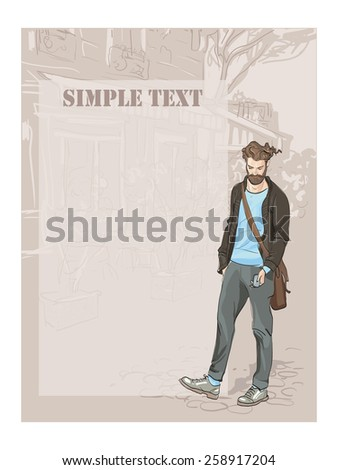 Fashionable man on the cityscape background. ashionable young man looking phone. freehand drawing vector.Can be used for banners, cards, covers, etc. - stock vector
