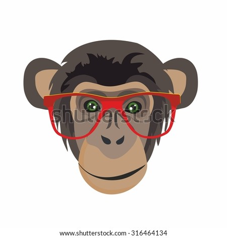 fashionable monkey, hipster, funny pictures, pictures for children, new year, holiday