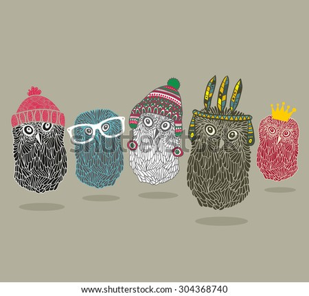 Fashionable print with group of owls for hipster t-shirt and more. Vintage vector illustration. - stock vector
