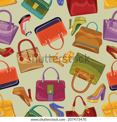 Fashionable seamless pattern with Colorful handbags and High heel shoes.Casual and festive.For background,fabric, Wallpaper, wrapping paper,web backdrop.Retro style.Fashion illustration,vector