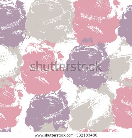 Fashionable seamless pattern with large stains and smears forming stylized rose flowers. Pastel color palette with pink and violet.  Perfect texture for consumer industry design, interior decoration - stock vector