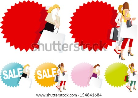 Fashionable shopping women in store, Sale sign. Copy space for text on shopping bags and badge. Easily changeable colors. Vector illustration - stock vector