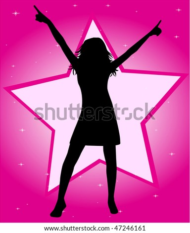 fashionable silhouette of the girls - vector illustration - stock vector