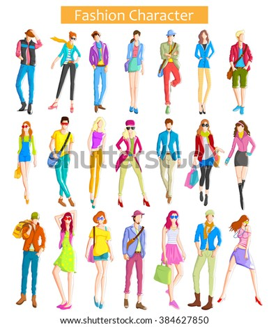 Fashionable urban and woman wearing modern dress in vector - stock vector
