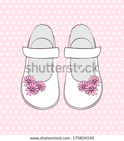 Fashionable  white shoes for little girls . - stock vector