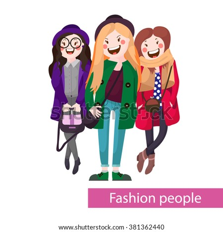 Fashionable young , stylish images , vector graphics, fashion illustration